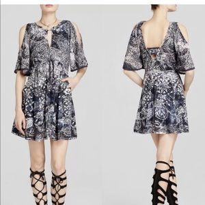 Free People Love Birds Printed Blue/White dress